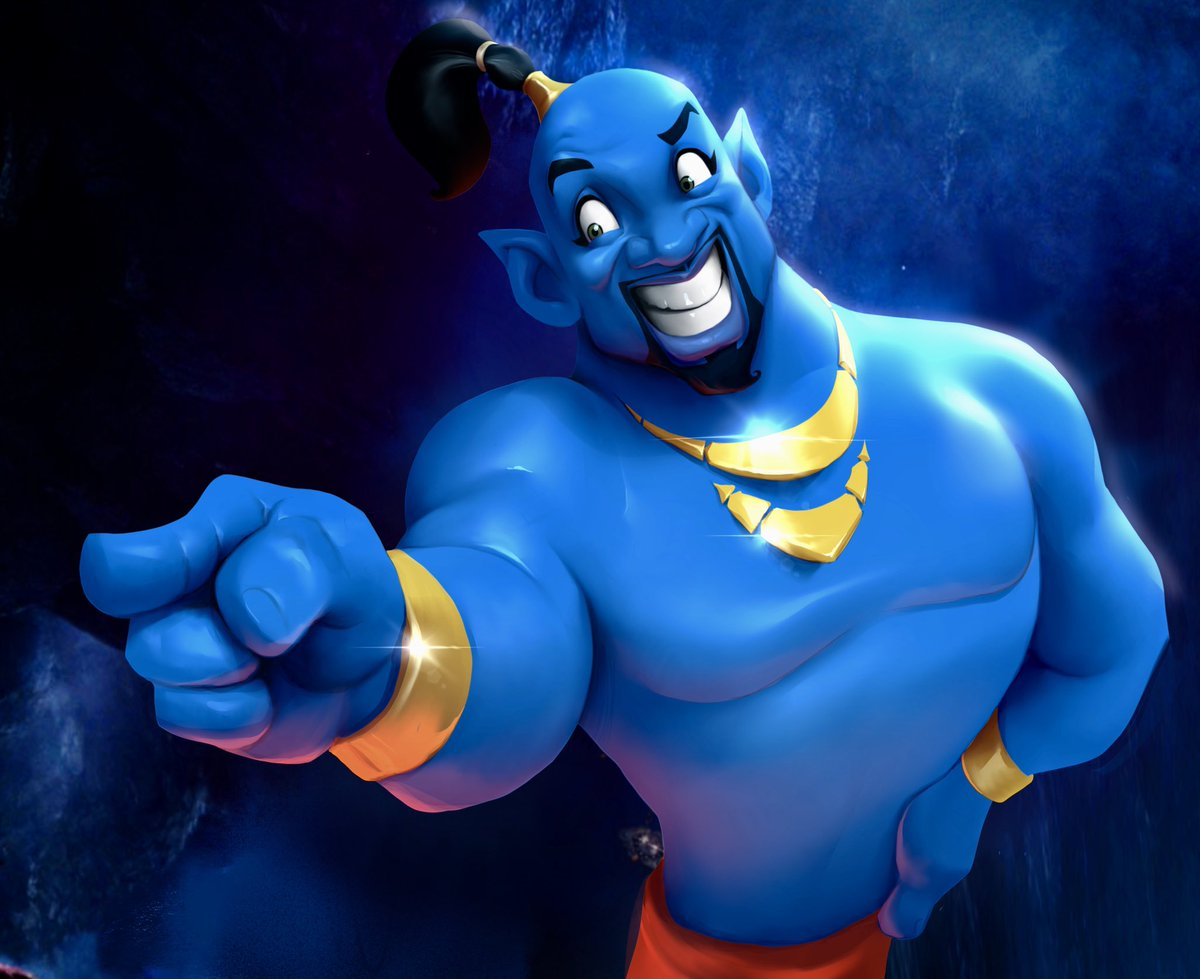 My cartoon adaptation of the live action adaptation because why not! #Aladdin2019 #Aladdin #Genie <br>http://pic.twitter.com/MiekVh5nVK
