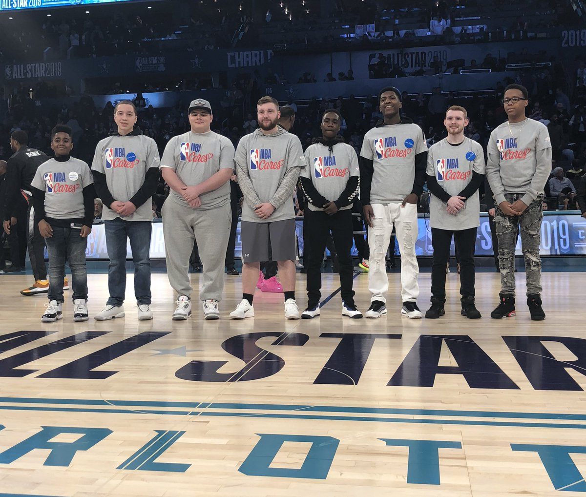 Our @MakeAWish All-Stars take center court in Charlotte! #NBAAllStar