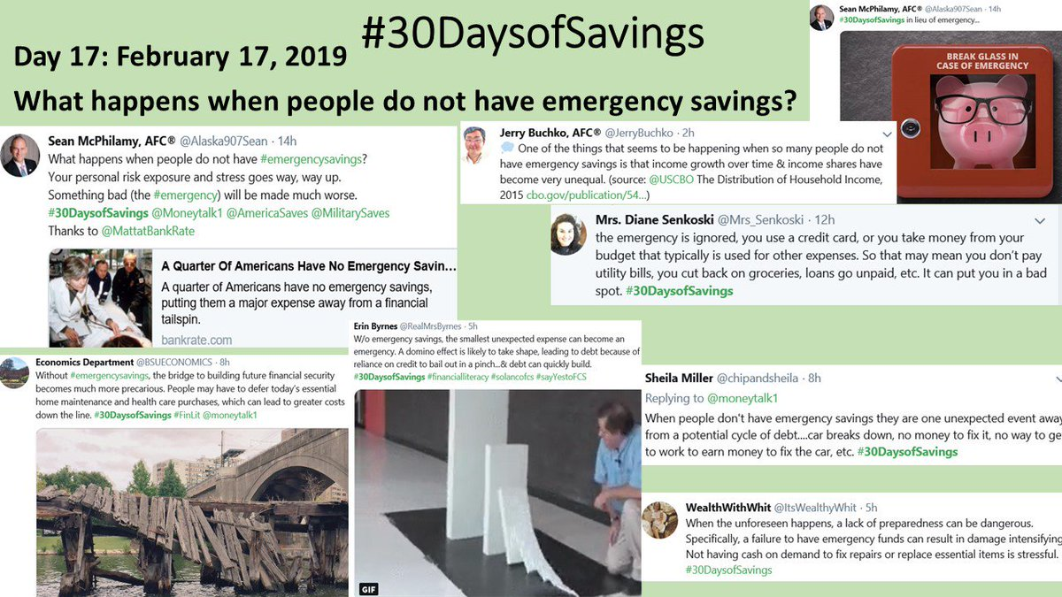 #shutdownstories showed us the answer to this question in great detail. What happens w/o an emergency fund? Increased stress, an emergency situation gets worse, greater future costs, potential cycle of debt #30DaysofSavings 3 more hours to add your ideas.
