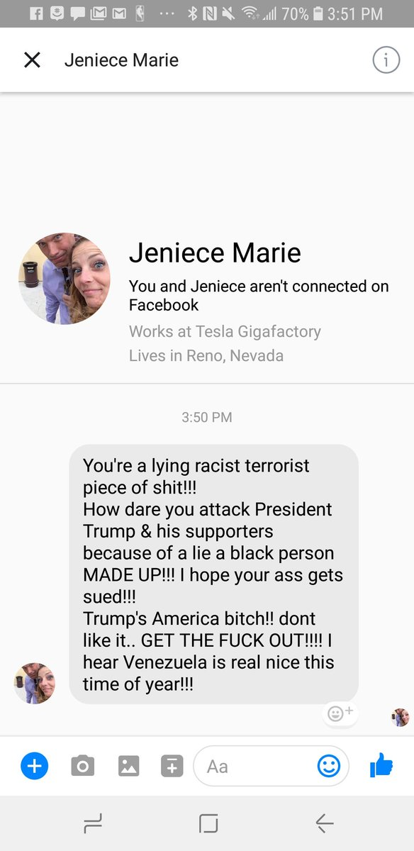 The type of HATE messages I get for thinking I was supporting a victim. Seriously @Tesla get your aggressively offensive #MAGA employees. My inlaws are from Venezuela. @JussieSmollett if you're lying, come clean. We've got real battles to fight, far from your PR.