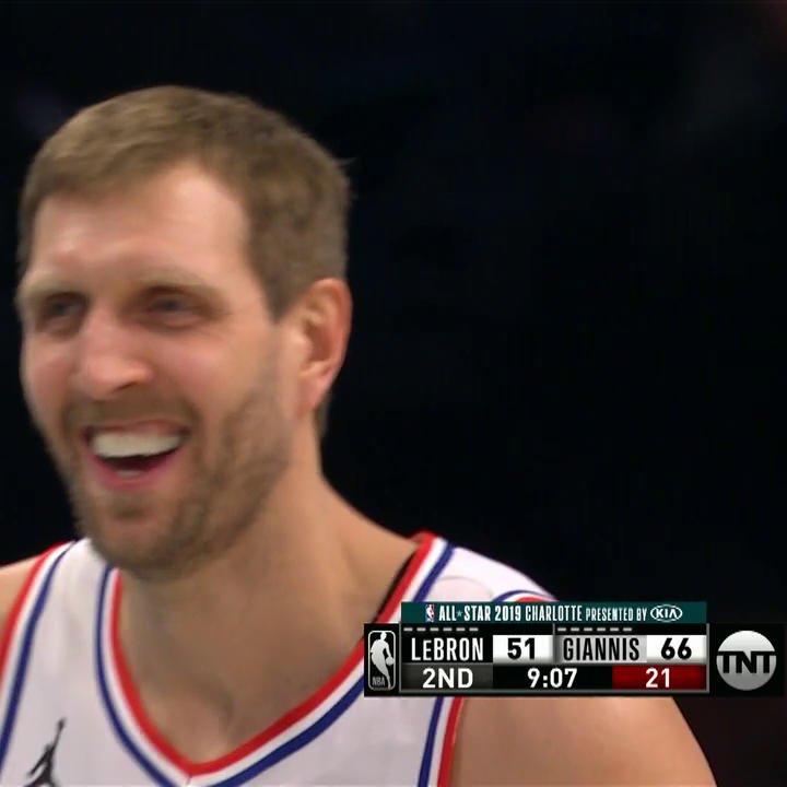 Dirk is 3-3 from deep! 😯  #NBAAllStar