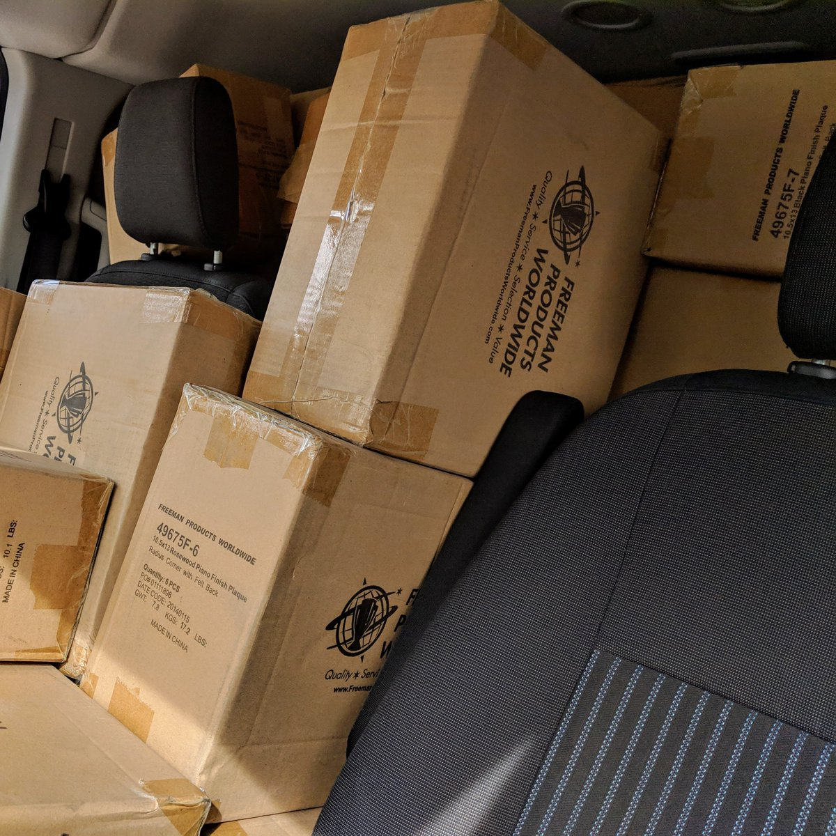 Van stacked to the brim with boxes