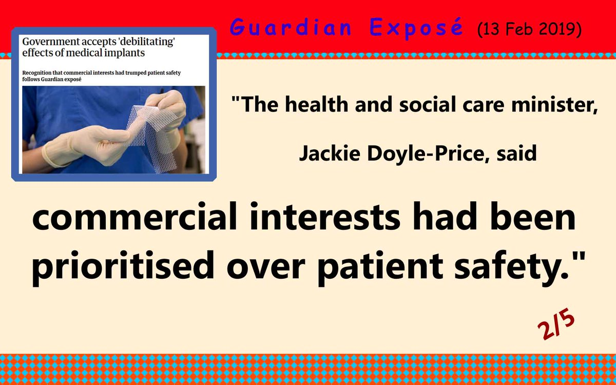 #Guardian expose on #implants #Healthandsocialcare minister acknowledges Commercial Interests placed before #safety  https://www.theguardian.com/society/2019/feb/13/government-accepts-debilitating-effects-of-medical-implants … @guardian @JackieDP @phsothefacts @alexander_minh @DrUmeshPrabhu @NHSwhistleblowr @PIPActionA @ann_poppy @CompassnInCare #phso @curetheNHS