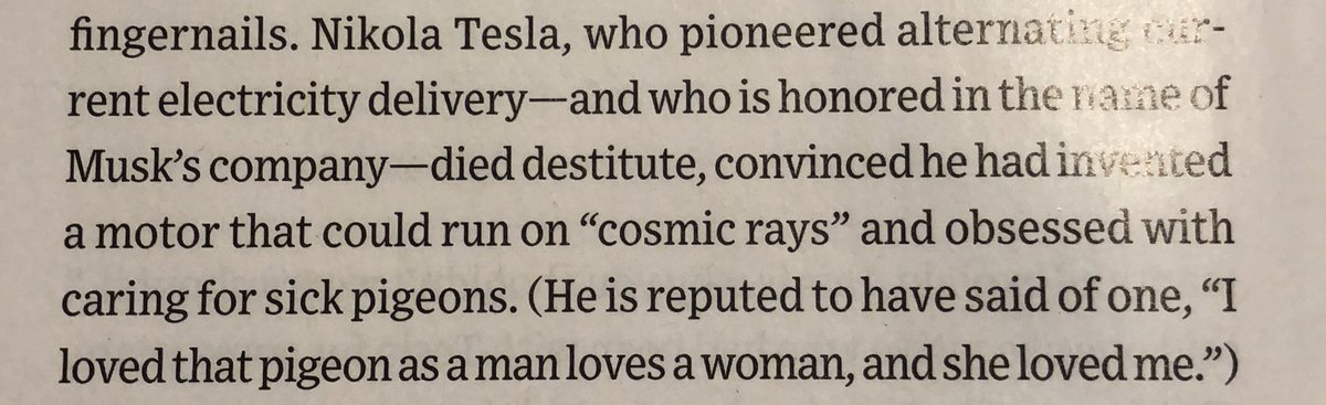If you want to know what my favourite thing I read on a multiply delayed 24h+ marathon return from holiday was, it's what Nikolai Tesla had to say about a pigeon