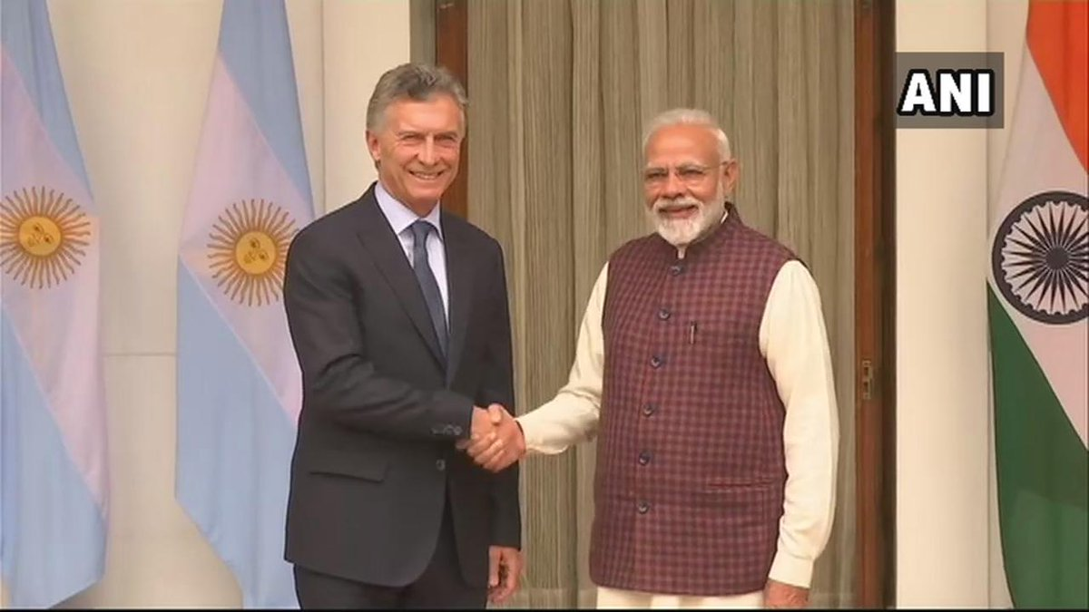Delhi: President of Argentina Mauricio Macri meets Prime Minister Narendra Modi.