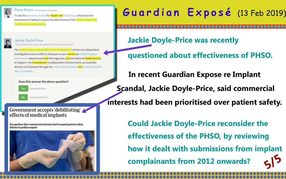 Commercial Interests Trumped #Patient #safety re #implants. Will minister Doyle-Price check effectiveness of #PHSO?  https://www.theguardian.com/society/2019/feb/13/government-accepts-debilitating-effects-of-medical-implants … @guardian @JackieDP @phsothefacts @alexander_minh @DrUmeshPrabhu @NHSwhistleblowr @PIPActionA  @CompassnInCare #mesh #breastimplantillness