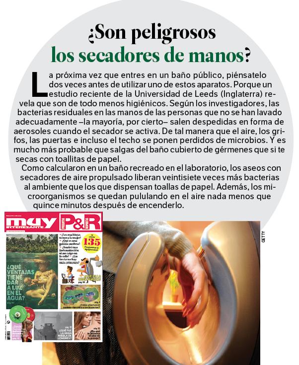 ¿Por qué son peligrosos los secadores de mano? Descúbrelo en la revista PREGUNTAS&RESPUESTAS de Muy Interesante