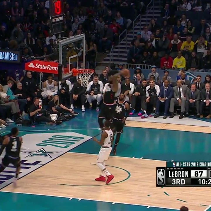 D-WADE TO LEBRON OFF THE GLASS! 😱  #NBAAllStar