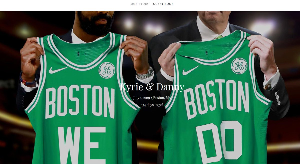 OMG. This is so great. Someone on @theknot posted a @KyrieIrving and @danielrainge 'Save The Date' post for July 1, 2019.  This is a legit wedding planning website.   Danny's best man is Anthony Davis. Kyrie's best man is Lebron James. @scord36 with an amazing find.