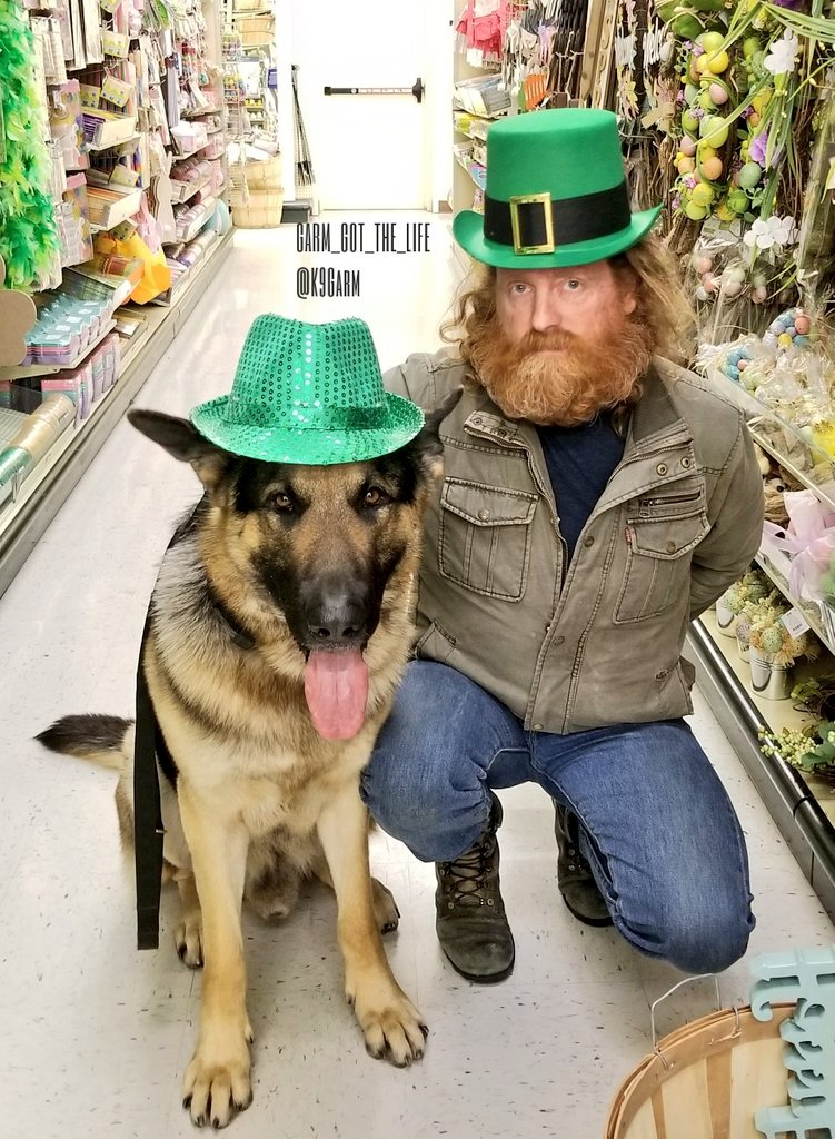 The #moosedog and his pops getting ready for #StPatricksDay! Moose went with the more German styled hat of course #K9Garm #SARK9 #dogsoftwitter #dog #dogs #germanshepherd #gsd<br>http://pic.twitter.com/aN32kKyl6E