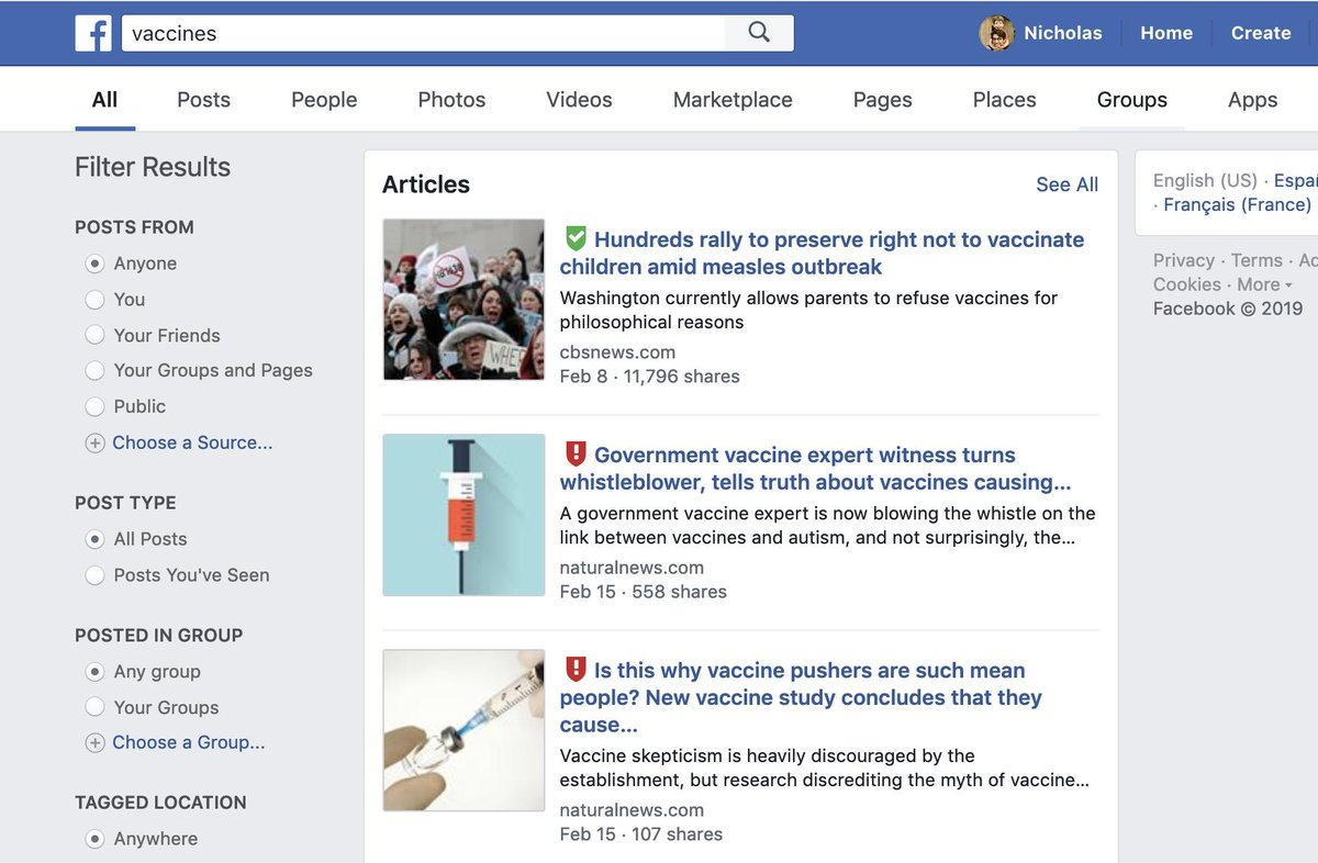 """A Facebook search for """"vaccines"""" just now gives some pretty brutal results for anyone who cares about health, safety, and/or truth."""