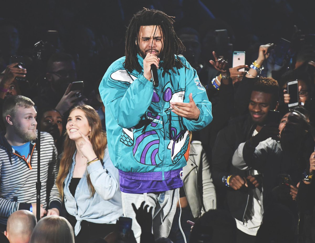 ✅ Helped out Dennis Smith Jr. at the Dunk Contest ✅ Performed at the NBA All-Star Game in his home state ✅ Gave a shout-out to 21 Savage ✅ Rocked the throwback Hornets jacket  What a weekend for @JColeNC 🔥