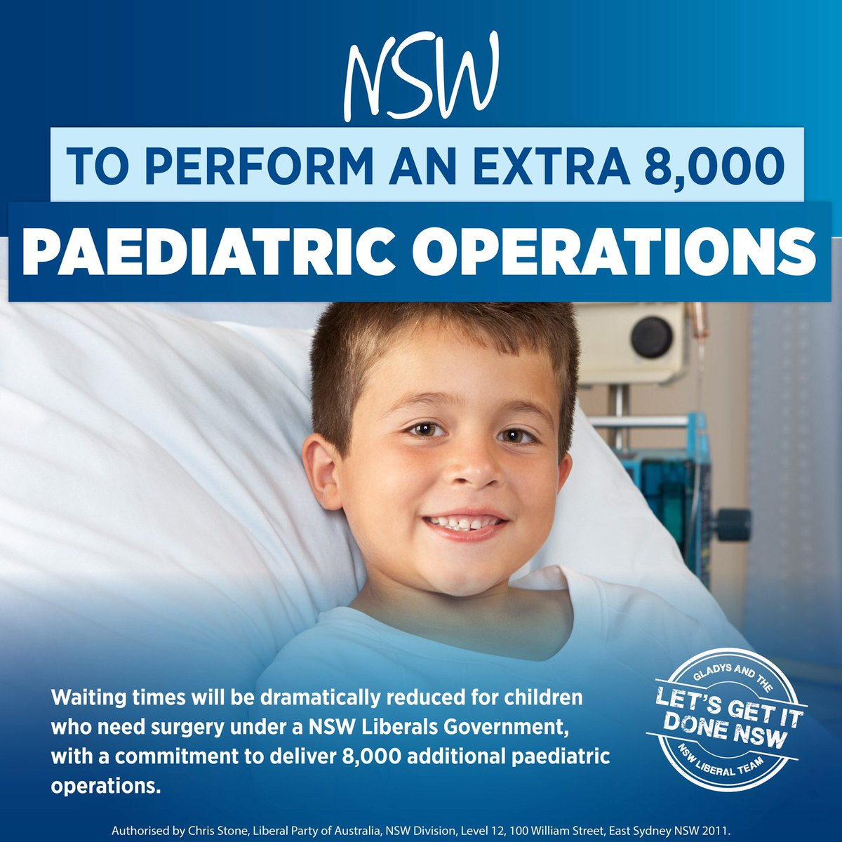 Waiting times will be dramatically reduced for children who need surgery under a NSW Liberals Government, with a commitment to deliver 8,000 additional paediatric operations. #nswpol #LetsGetItDoneNSW