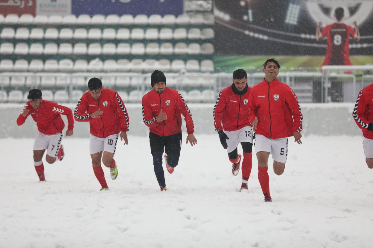 #Afghanistan's U23 National #Football Team held a training session on Sunday in the snow.