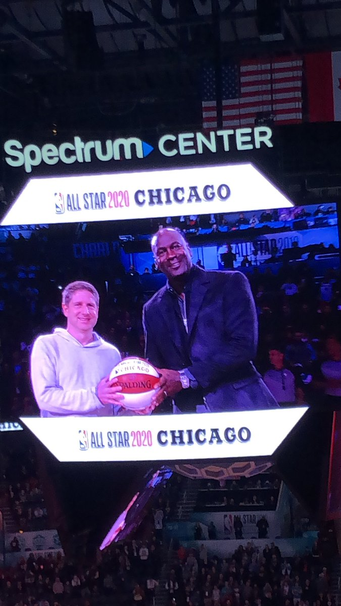 Finally! MJ @Jumpman23  shows up! Officially turns over the NBA All Star ball to Chicago for The 2020 All Star Weekend!  #NBAAllStar  #NBAonABSCBN  @abscbnsports
