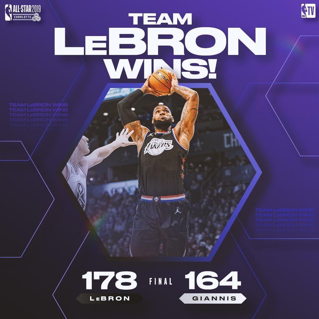 What a game! 😱  #TeamLeBron comes back to take down #TeamGiannis! 💪  #NBAAllStar