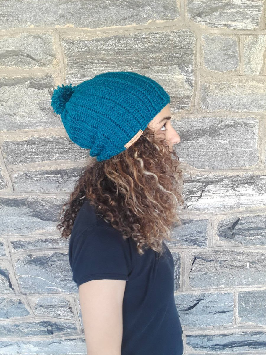 bf119629f12 TEAL CROCHET HAT Chunky slouchy beanie holiday gift gift for her women hat pompom  beanie Women s beanie  slouchy hat crochet winter hat ...