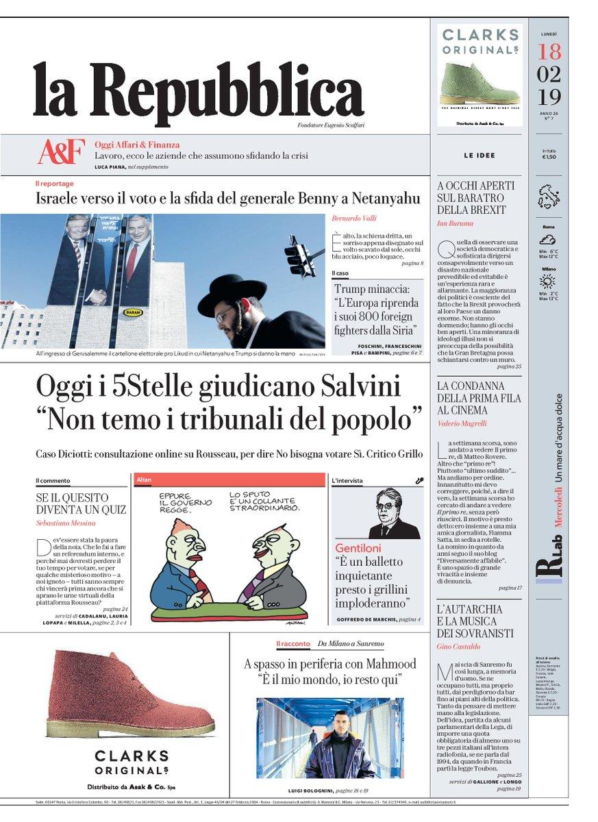 """Oggi i #5Stelle giudicano #Salvini: """"Non temo i tribunali del popolo"""" - #Buongiorno con la #primapagina di Repubblica di oggi #17febbraio #rassegnastampa  https://t.co/LZaZp2FObT"""