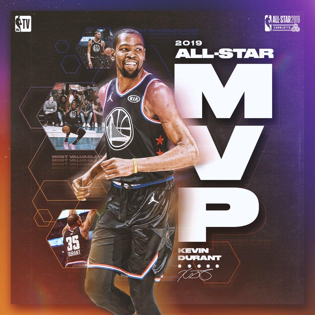 Kevin Durant takes home #KiaAllStarMVP honors! 🏆  #NBAAllStar