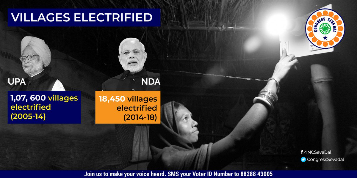 UPA lit up more houses and lives than Modi's NDA. Fake data about rural electrification that the BJP has been using cannot take the sheen off the @INCIndia achievements. #UPAvsNDA