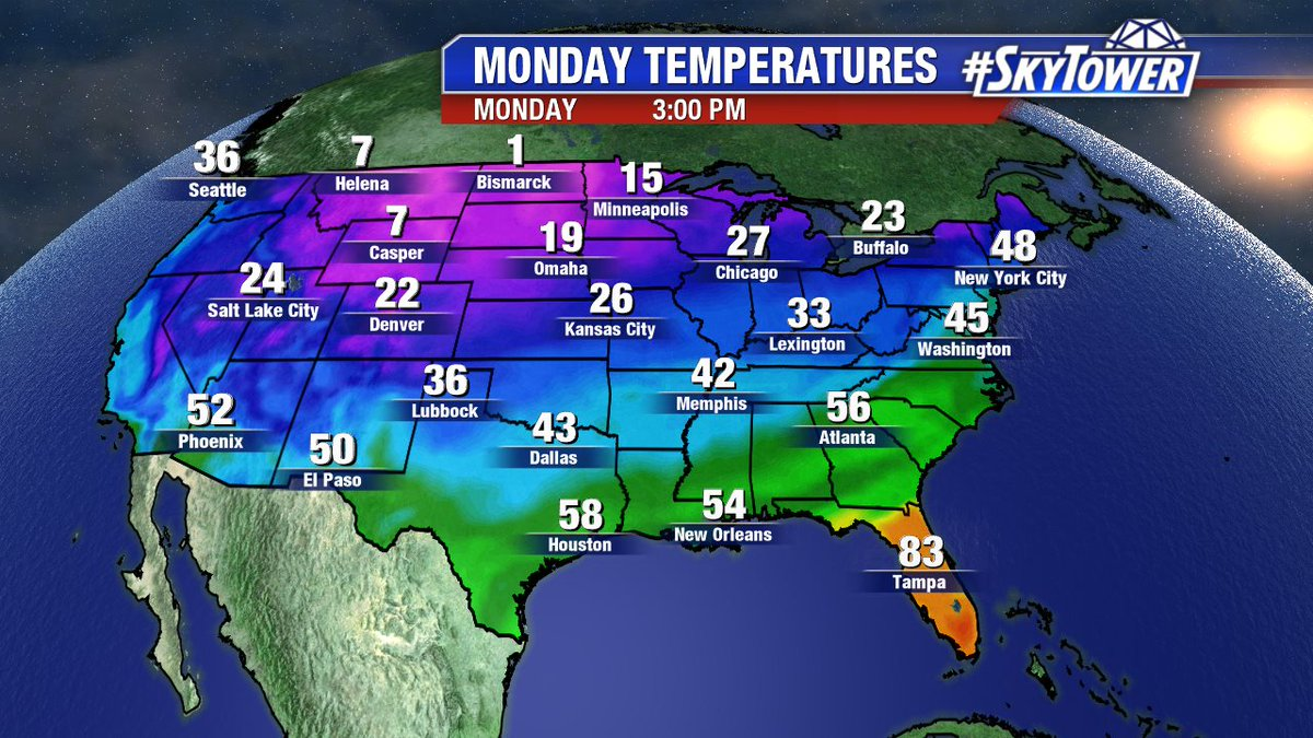 """Playing the ole """"Florida isn't participating in winter"""" game again Monday. #Skytower"""