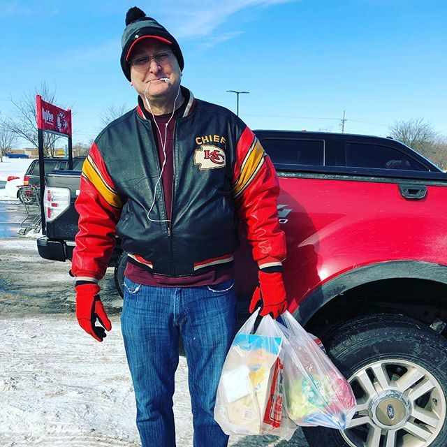 Two hats, all his #chiefs gear, being his nutty self, driving me around in the truck to shop and muling all my packages. This folks is true love! . #happy #love #winter #qualitytime #ford #besthusbandever #shopping http://bit.ly/2DSEy9Z