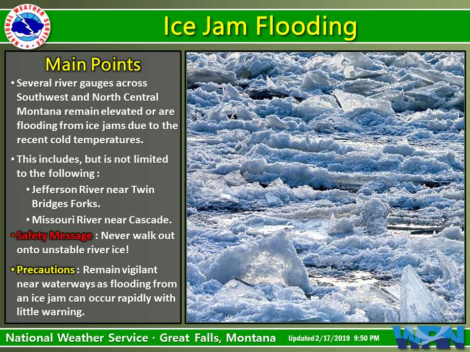 New Weather Graphic Issued: Ice Jam Flooding. More info at https://t.co/9noRXI71Sk. #mtwx