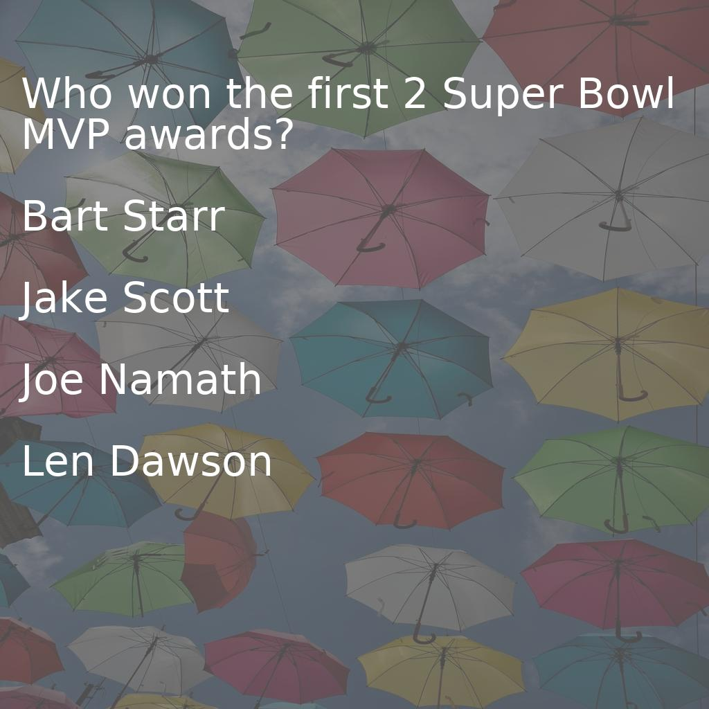 Who won the first 2 Super Bowl MVP awards? Want to know the answer? Go to https://buff.ly/2SK6wPC #trivia #superbowl