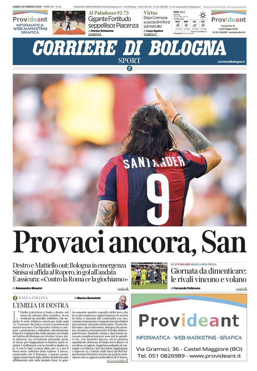 #bologna Buongiorno. Ecco la prima pagina dell'inserto del lunedì del Corriere di Bologna. Buona lettura.