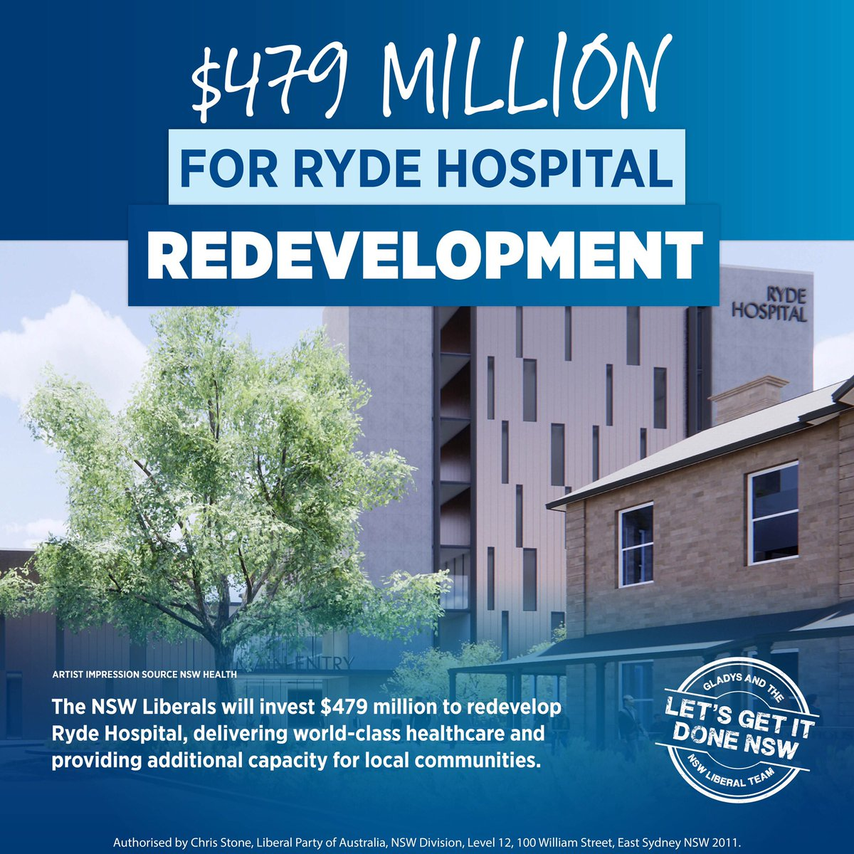 The NSW Liberals will invest $479 million to redevelop Ryde Hospital, delivering world-class healthcare and providing additional capacity for local communities. #nswpol #LetsGetItDoneNSW