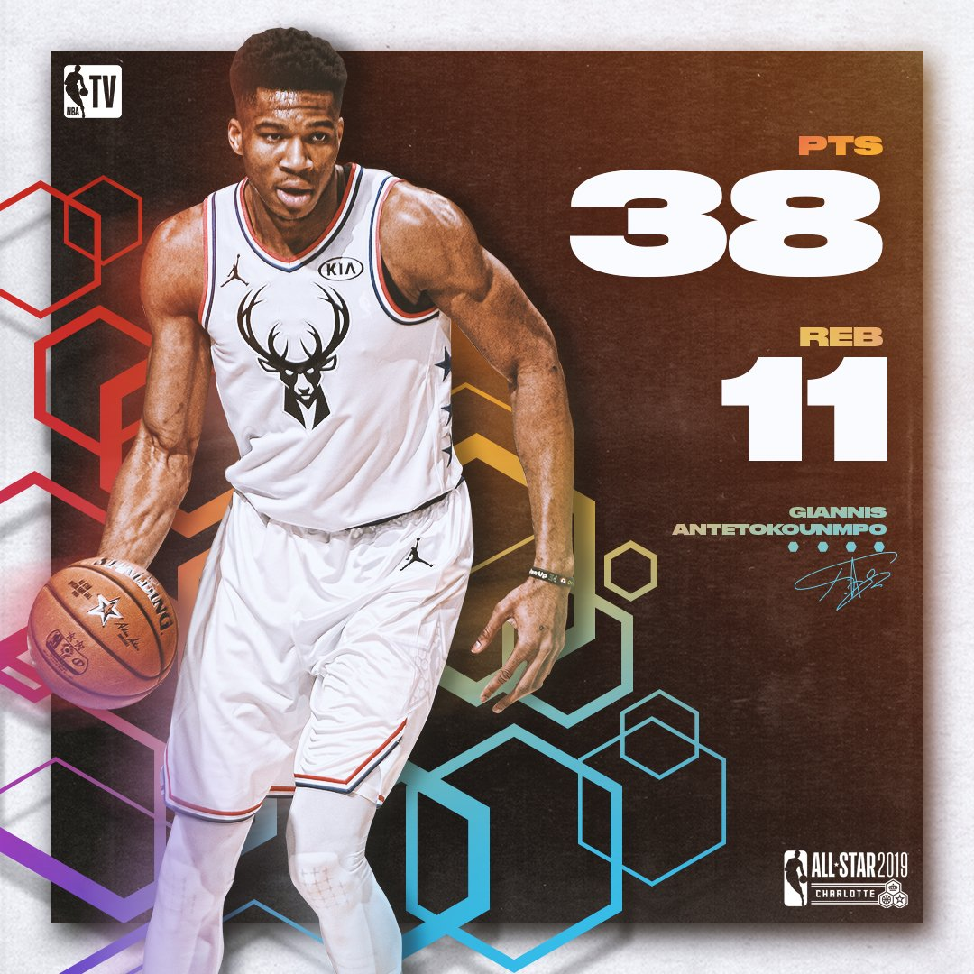 Giannis put up some BIG numbers last night! 😤  #NBAAllStar