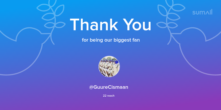 Our biggest fans this week: @GuureCismaan. Thank you! via https://sumall.com/thankyou?utm_source=twitter&utm_medium=publishing&utm_campaign=thank_you_tweet&utm_content=text_and_media&utm_term=c36e9a4840e4c7aa419fea3c…