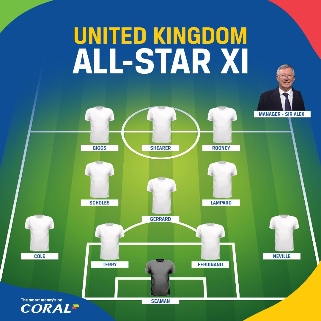It was NBA All-Star weekend last weekend!  With everyone at their peak, who would win an All-Star UK vs. Rest of World football match?  That front three for R.O.W. 😍  Sir Alex is the perfect man to get the Gerrard, Lampard & Scholes midfield trio firing 🔥