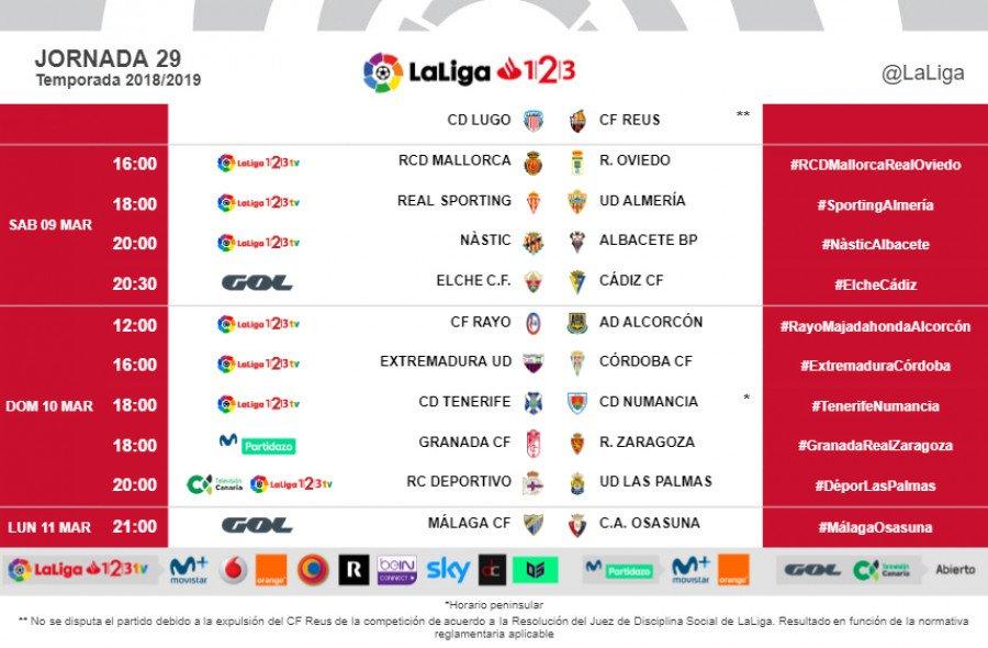 HORARIOS | Consulta cuándo se jugarán los partidos de la J29 de #LaLiga123. http://laliga.sh/5q2lv0