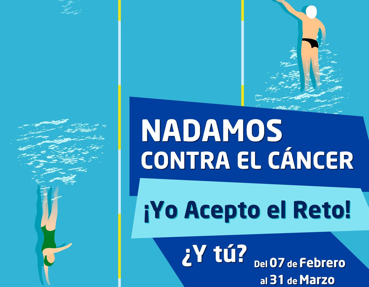 """📤 Continúa la campaña """"NADAMOS CONTRA EL CÁNCER"""" de la @RFEN_directo para la @aecc_es.  🏊 Nada, hazte un vídeo o una foto y difúndelo en redes.  ➡️ La RFEN donará a la cuenta de la AECC 1 euro por cada 100 metros nadados. ¡ANÍMATE!  👉 https://bit.ly/2GyYy4P"""