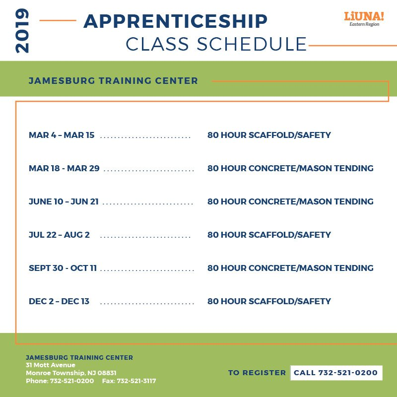🚨 ATTENTION #APPRENTICES 🚨: We broke down the 2019 #Apprenticeship #Training schedule by location.  There's 4, so click to see them all.  @Local172SET & @trainliunanjde have classes starting NEXT WEEK.  @LIUNA Eastern Region members can take classes at any location.  #LIUNA