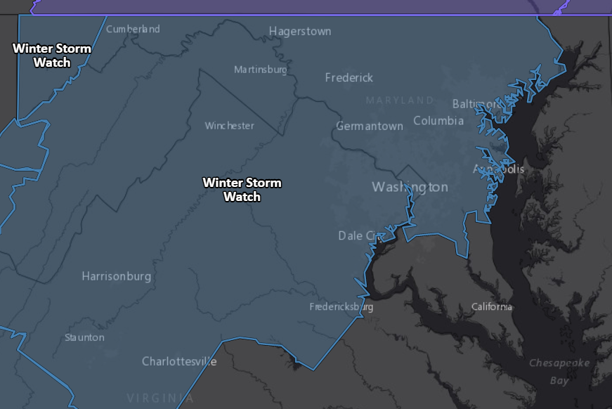 NEW: National Weather Service issues winter storm watch for DC region for late Tuesday night to late Wednesday night for heavy snow and then ice. More info: https://wapo.st/2BJZLmp
