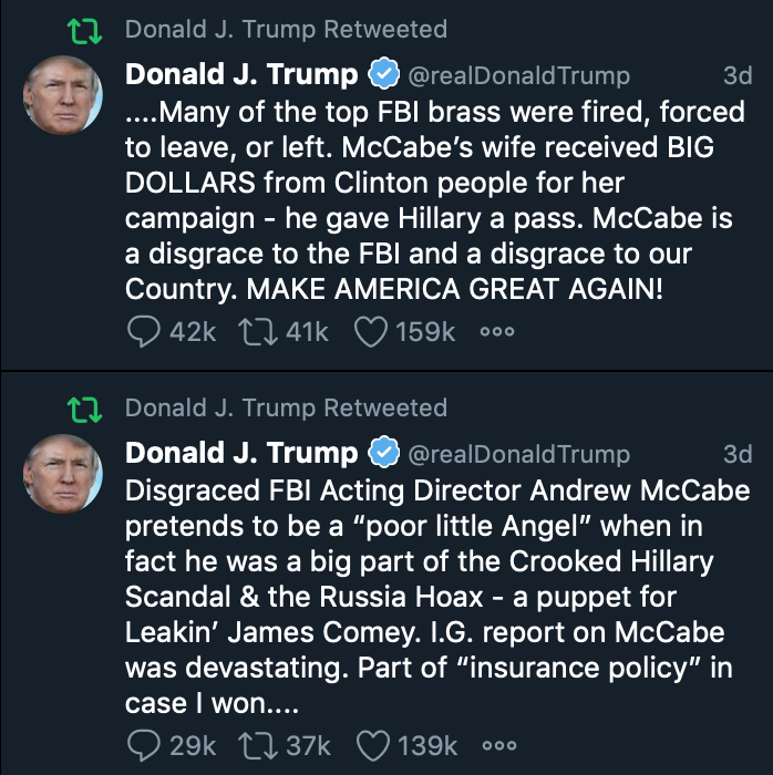 In a move to avoid consuming time writing new screeds against Mueller, Comey, McCabe, the FBI and others in the Deep State, Trump is now retweeting himself.