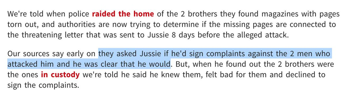 If this is true, it's horrific. The implication is that Jussie Smollett thought the police had two innocent men in custody and he said he would testify against them. Only when he realized the cops got the right guys-the guys he orchestrated the hoax with-did he refuse to comply.