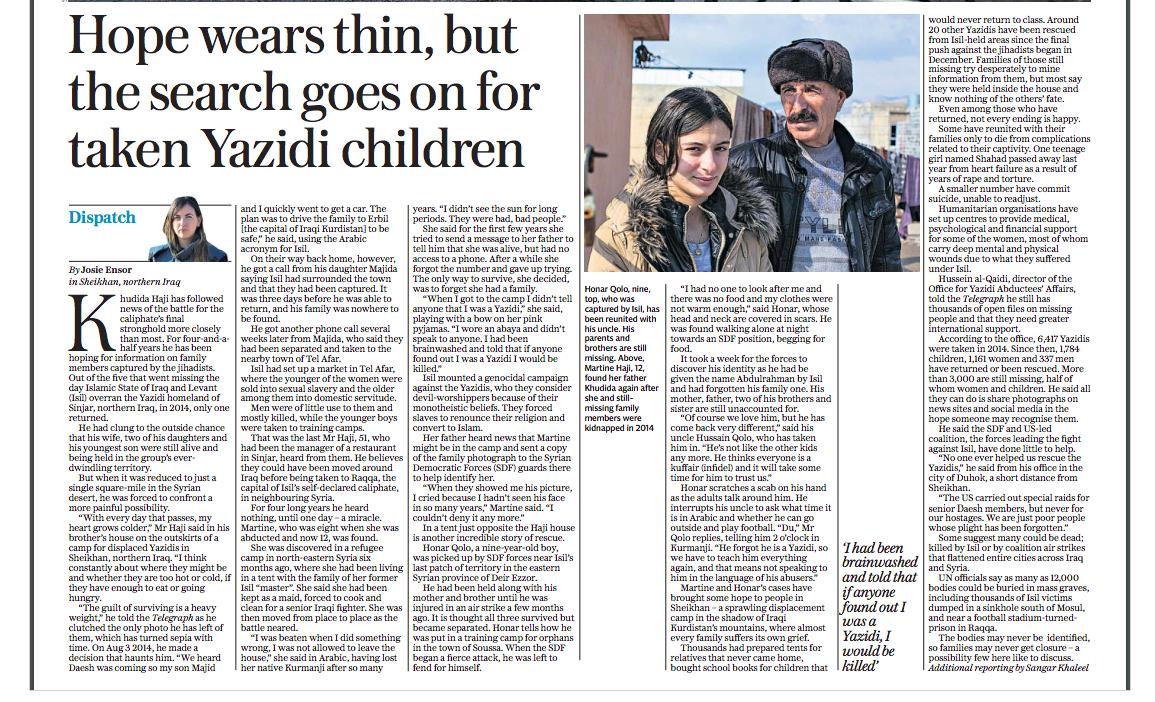 THREAD: Where are the 3,000 Yazidis still missing? I spoke to two children who were recently rescued. One had forgotten he was a #Yazidi, the other was so brainwashed she lied about her identity to the managers at al-Hol camp. But their return has given some in Iraq hope (1)