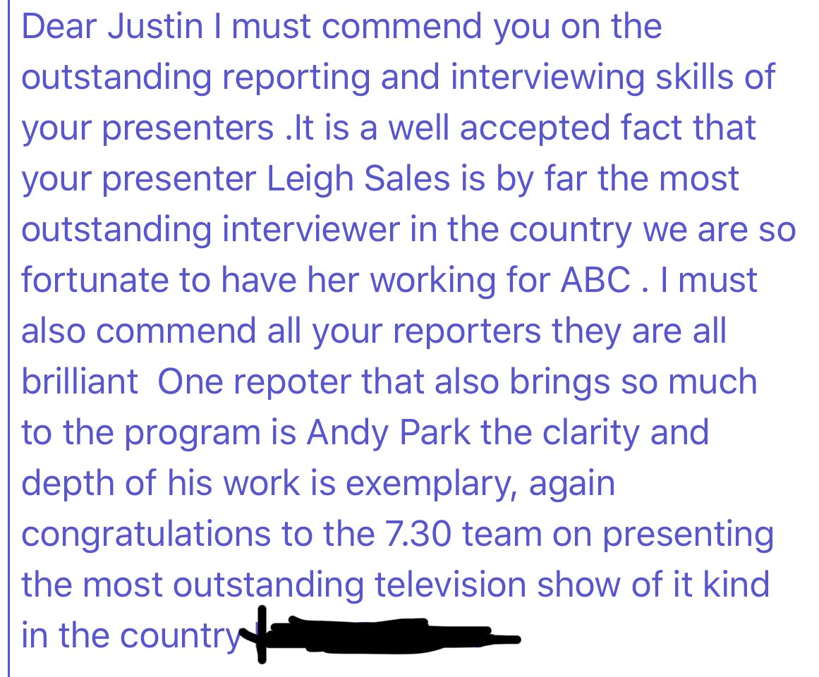 UPDATE: the lovely man at my gym today (who was so keen on complimenting me, I was in the middle of undressing) insisted he write to my boss @_JustinStevens_ . What a champ. ❤️ #yourabc  #abc730