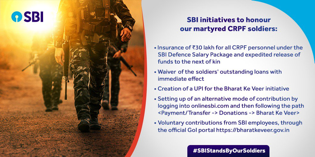 """""""In this moment of grief, our sincere thoughts are with the families of our bravehearts. These initiatives by the Bank are a small gesture towards the families who have faced irreparable loss."""" - Shri. Rajnish Kumar, Chairman SBI. https://bit.ly/2V2Nf8H #SBIStandsByOurSoldiers"""