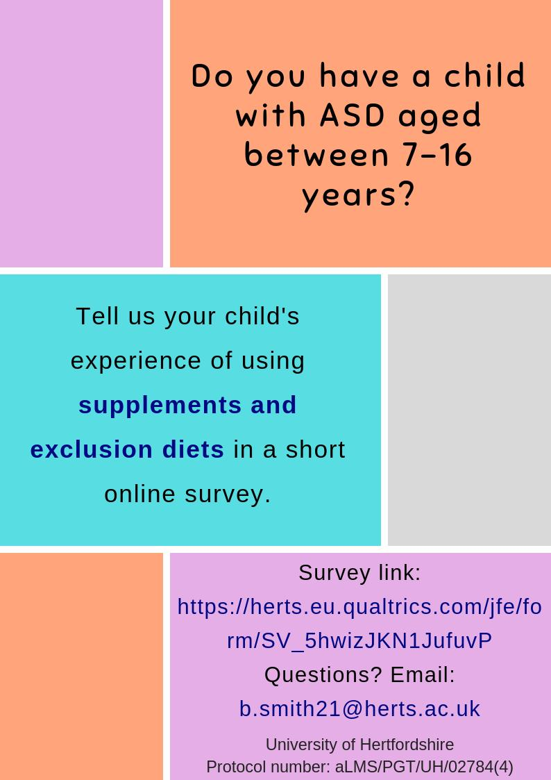 Do you have a few minutes to share your child's experience of using supplements & exclusion diets? #Autism #ASD Survey link: https://herts.eu.qualtrics.com/jfe/form/SV_5hwizJKN1JufuvP … Thank you.  We'd love to hear from as many parents as possible! @ResearchAutism @autism_research @AmandaLudlow7