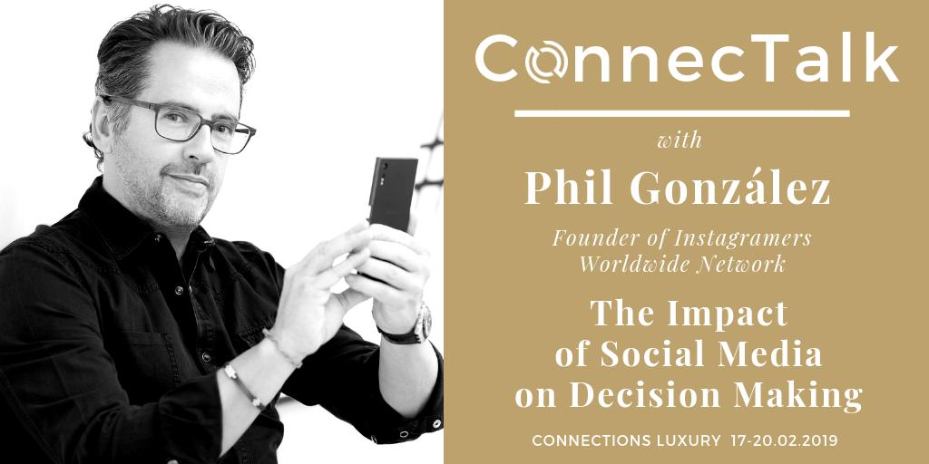 Today in #Malaga during @ConnectionsWay Luxury event luxury travel executives are going to meet @PhilGonzalez. Phil is ConnectTalk guest speaker and will talk about Instagram and decision making on the luxury travel market.  #connectionsLuxury #Igers #eventprofs