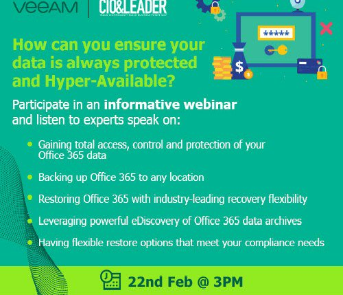 Keeping your data protected and hyper-available is key. Now, how do you do that? Join us to know more Click here to register: http://owl.li/b00q30nEtzE #CIO #CISO #security #data #veeam
