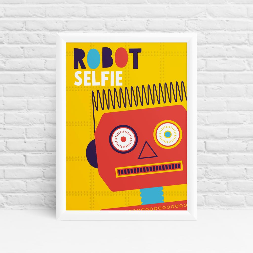 Friendly red #robot #selfie framed poster design by Ibbleobble®  . https://buff.ly/2GlraPt . Original cute #robot selfie wall art by #Ibbleobble®! #RobotRock #TuesdayMotivation #TuesdayThoughts #Tuesday #TuesdayTips