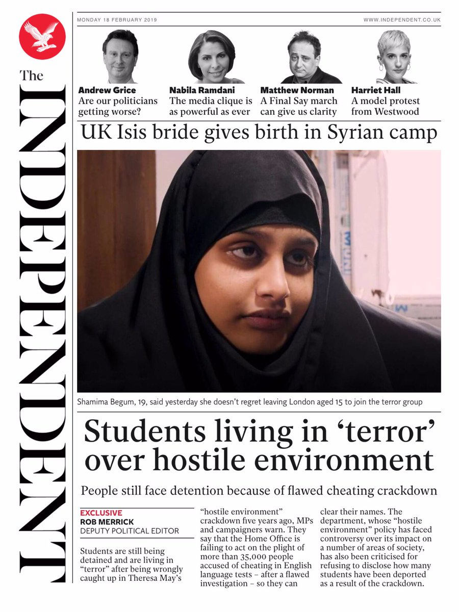 Students Living In 'Terror' Over Hostile Hostile Environment. People still face detention because of flawed cheating crackdown - https://is.gd/5KKpji  @Rob_Merrick  #frontpagestoday #UK #TheIndependent