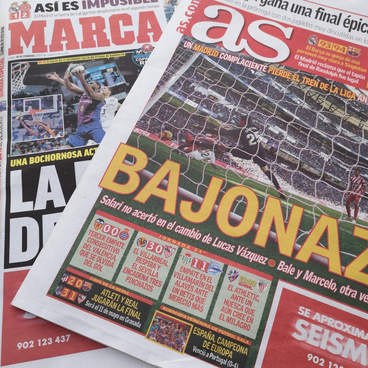 "The headlines in Madrid after Girona's win at the Bernabeu...  🗞️ As say ""a complacent Madrid miss the LaLiga train"" 🚂 🗞️ Marca say ""Madrid quit the league after collapsing in the second half""  More in the #tsfp Morning Paper Review for patrons ➡️ https://www.patreon.com/posts/24782294"