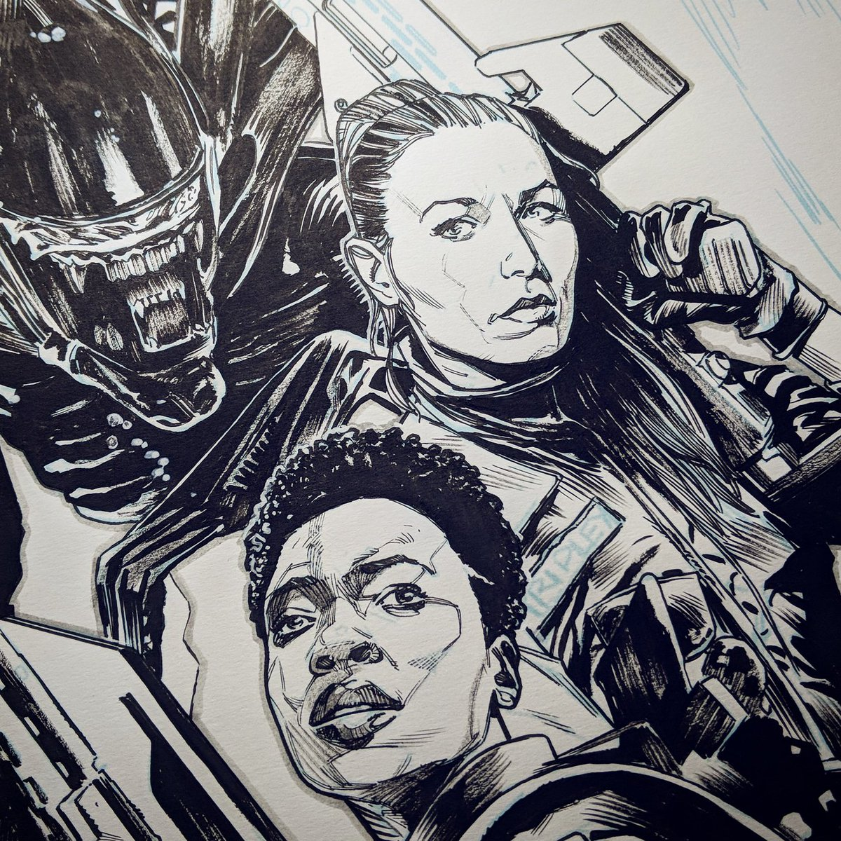 Early morning art post! Finished this up last night. About to drop some colour onto it... #happymonday #art #drawing #comics #aliens<br>http://pic.twitter.com/WhqqoBGztz