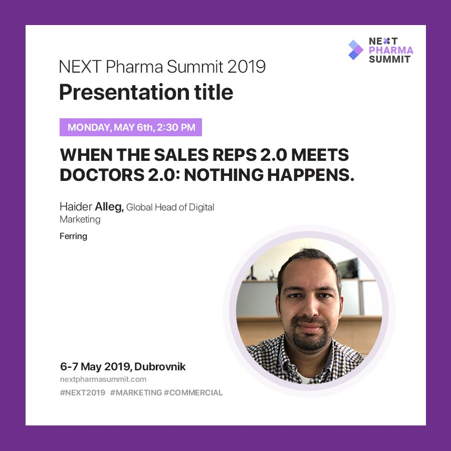 """>NEXT Keynote Speech> A digital, sales and marketing leader @Haider_Alleg from @ferring speaks at #NEXT2019 with title: """"When the sales reps 2.0 meets doctors 2.0: Nothing happens.""""  #pharma #healthtech #healthcare #patientengagement #dubrovnik #croatia #sales #marketing #digital"""